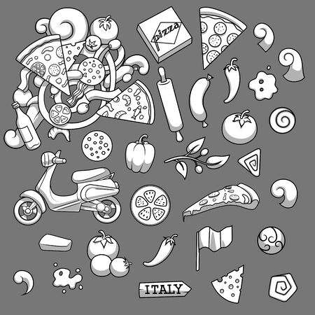 anchovy: Pizza ingridients black and white on gray background design vector illustration Illustration