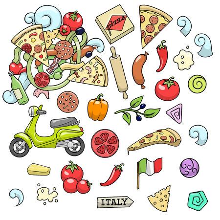 ingridients: Pizza ingridients colorful on white background design vector illustration