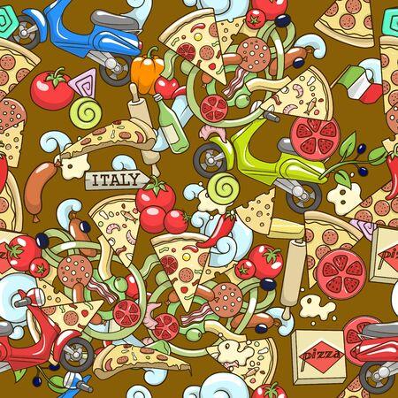 ingridients: Pizza ingridients colorful on brown seamless pattern background design vector illustration Illustration