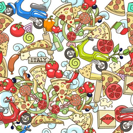 ピザ ingridients 白いシームレスなパターン背景デザインのカラフルなベクトル イラスト