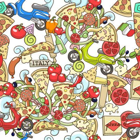 피자 ingridients 흰색 원활한 패턴 배경 디자인 벡터 일러스트 레이 션에 다채로운