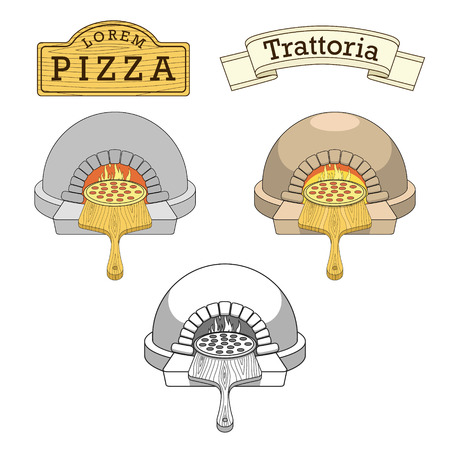 fire wood: Trattoria pizza oven colorful thin lines stylish emblem design vector illustration