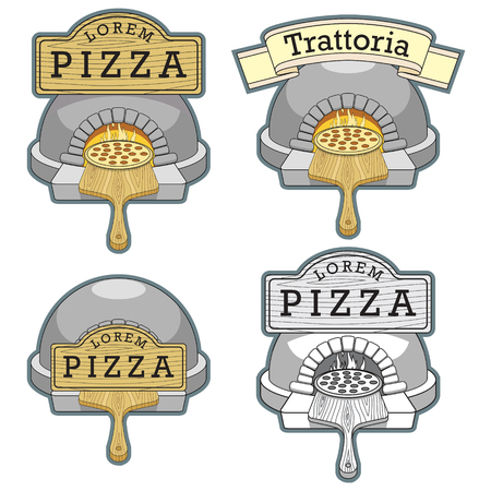 fine cuisine: Trattoria pizza oven colorful thin lines stylish emblem design vector illustration