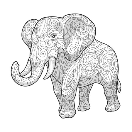 dessin noir et blanc: Elephant ornement conception de tatouage abstrait ethnique. Vector illustration Illustration