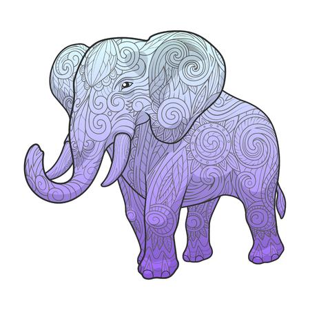 whorls: Elephant ornament ethnic abstract tattoo design. Vector illustration Illustration