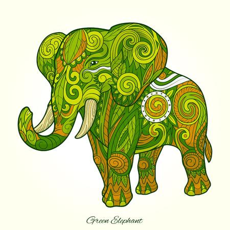 elefante: Elefante ornamento diseño del tatuaje abstracto étnica. Ilustración vectorial