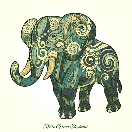 squiggles: Elephant ornament ethnic abstract tattoo design. Vector illustration Illustration