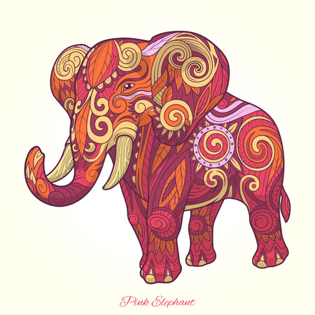 pink elephant: Elephant ornament ethnic abstract tattoo design. Vector illustration Illustration