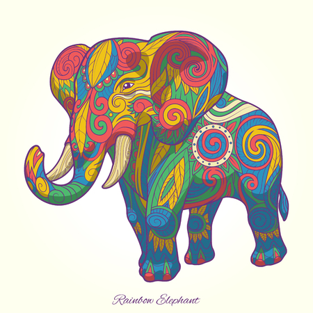 isolated on white: Elephant ornament ethnic abstract tattoo design. Vector illustration Illustration