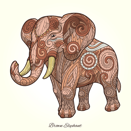 rounding: Elephant ornament ethnic abstract tattoo design. Vector illustration Illustration