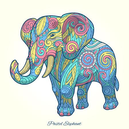 rounding: Elephant pastel color ornament pastel colors tribal ethnic vector Illustration