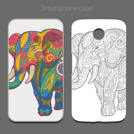 newest: Smartphone case design colorful elephant vector illustration Illustration