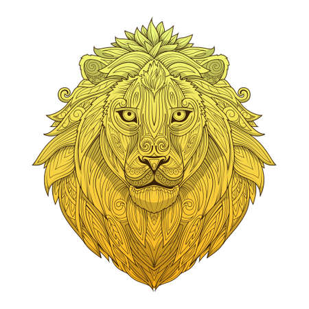 rounding: Lion ornament ethnic abstract ornament tattoo vector illustration