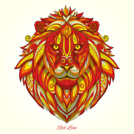 dessin au trait: Ornement de Lion ethnique abstraite ornement tatouage illustration vectorielle