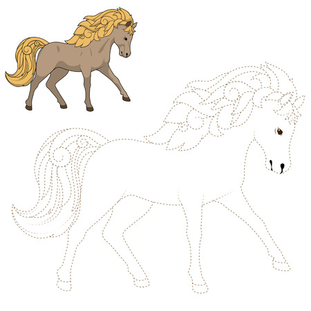 kinky: Connect the dots to draw wild horse  educational game vector illustration