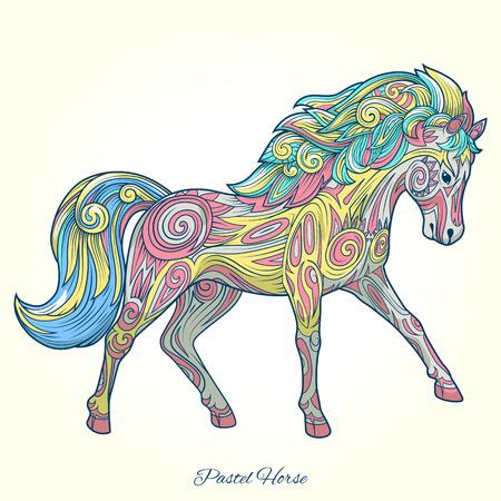 whorls: Horse hand drawn ornament tattoo tribal vector illustration Illustration