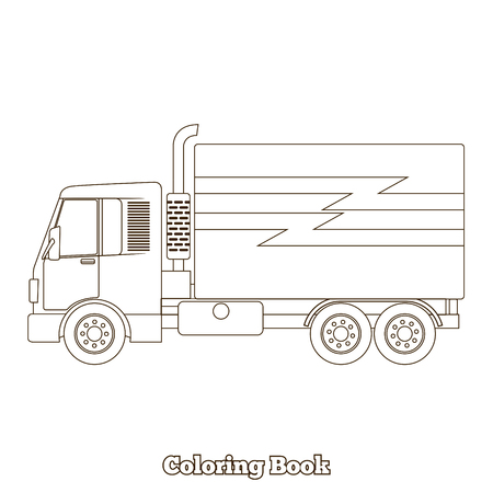 dyeing: Coloring book cartoon toy truck vector illustration