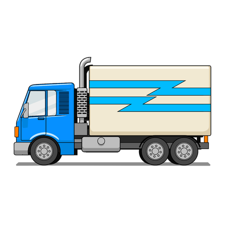 cute graphic: Truck cartoon hand drawn colorful vector illustration