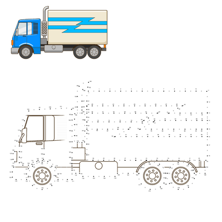 dyeing: Draw cartoon truck educational game vector illustration