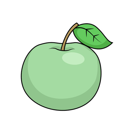 manzana caricatura: Manzana dibujos animados ilustración vectorial dibujado a mano educativa