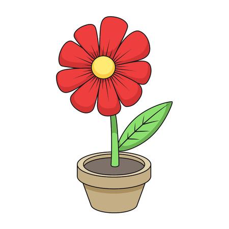 flor caricatura: Flor de la historieta colorida ilustración de vector dibujado mano Vectores