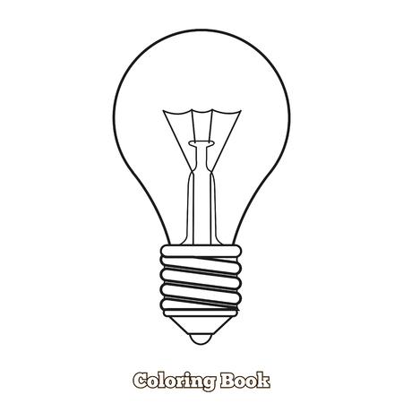 dyeing: Lightbulb cartoon coloring book hand drawn vector illustration Illustration