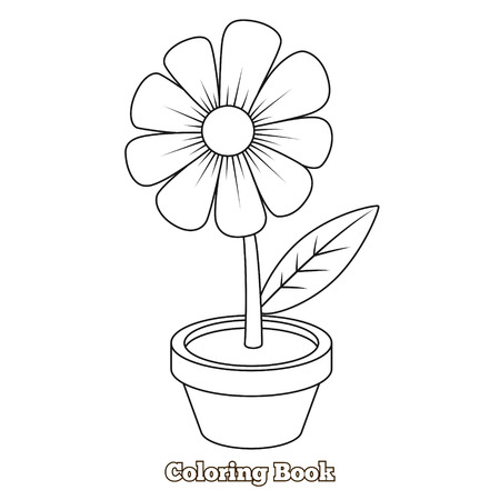 Flower cartoon coloring book educational game vector illustration