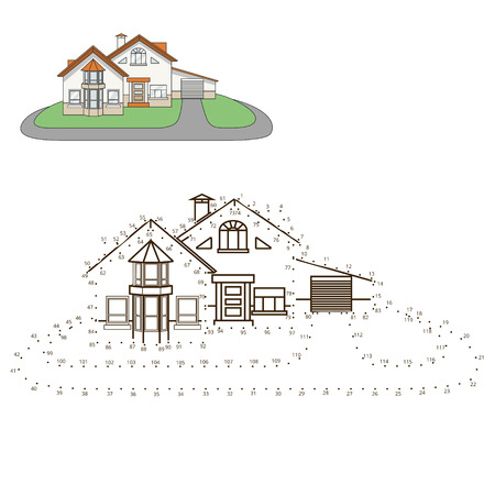 white house: Draw house educational game hand drawn vector illustration