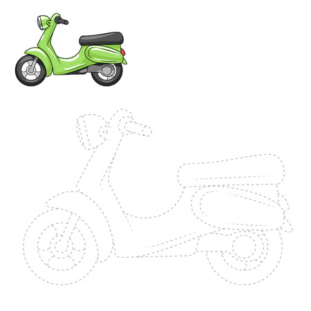 dyeing: Connect the dots to draw scooter educational game vector illustration Illustration