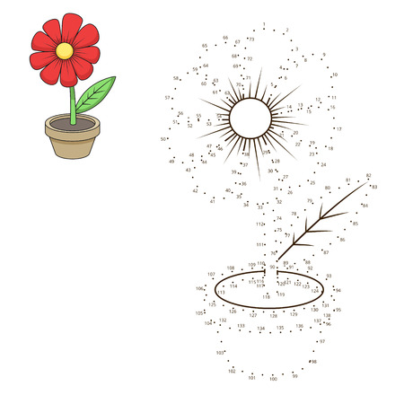 Connect the dots to draw flower  educational game vector illustration