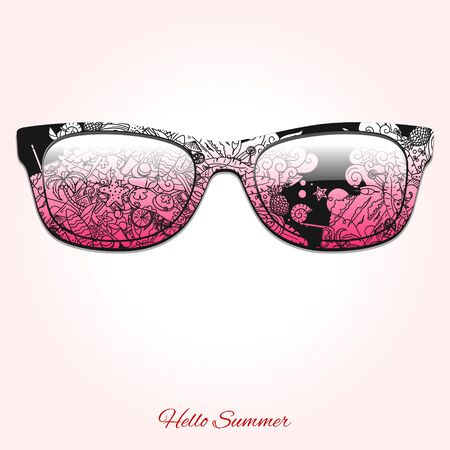 sunglasses recreation: Hello summer sunglasses abstract ornament vector illustration Illustration