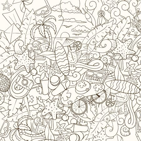 doodle: Pattern summer background design hand drawn vector illustration Illustration