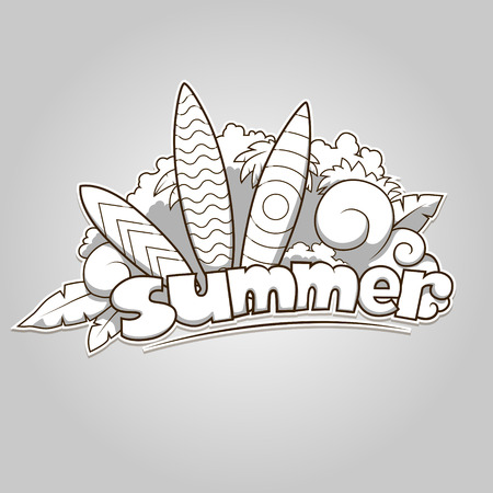 colorless: Summer surfing colorless hand drawn vector illustration