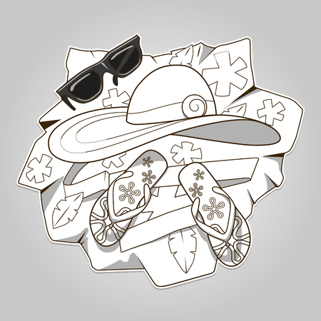 colorless: Summer clothes colorless hand drawn vector illustration Illustration
