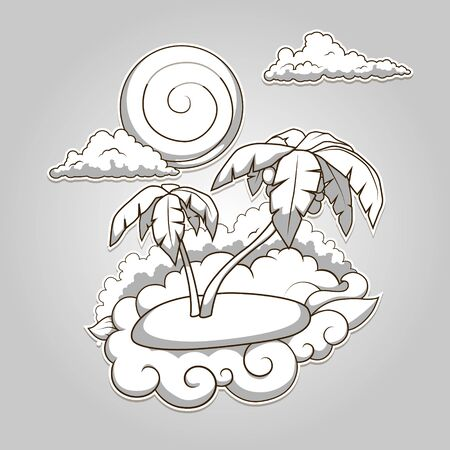 colorless: Palms tropical colorless hand drawn vector illustration Illustration