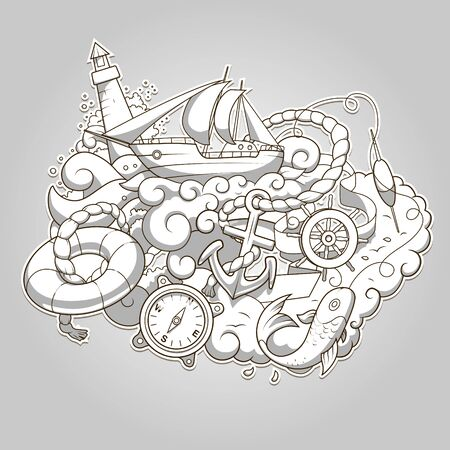 colorless: Summer sailing abstraction colorless hand drawn vector illustration Illustration