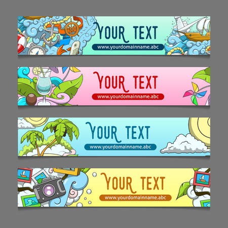 wave tourist: Banner summer theme hand drawn ornament colorful abstract vector illustration Illustration
