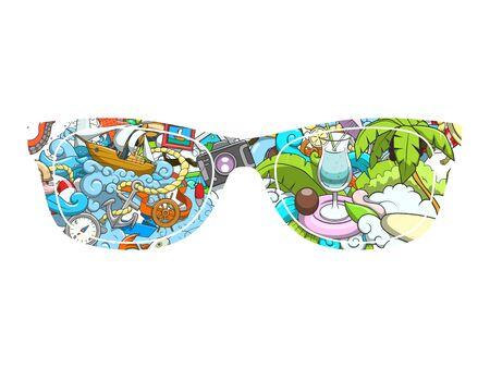 sunglasses recreation: Summer sunglasses design hand drawn abstract ornament vector illustration Illustration