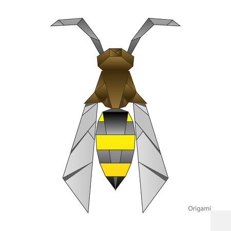 paper wasp: Origami paper wasp  hand drawn minimalistic vector illustration