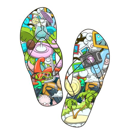 beach slippers: Summer beach slippers design abstract vector illustration