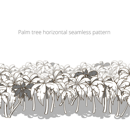 colorless: Palm tree horizontal pattern colorless vector illustration Illustration