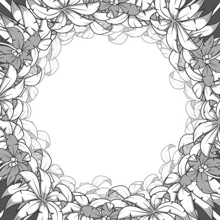 circumference: Round palm frame tree circle frame background vector illustration