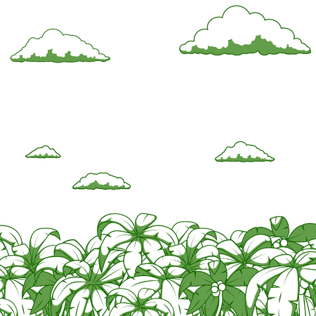 uninhabited: Palm and clouds background color vector illustration