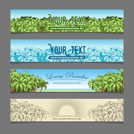 opulent: Banner ads colorful palm tree theme vector illustration