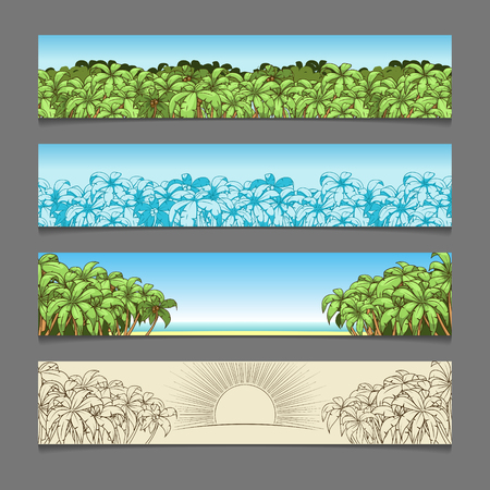 Banner ads colorful palm tree theme vector illustration