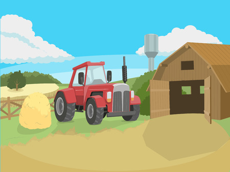 catoon: Tractor on the farm colorful catoon vector illustration Illustration