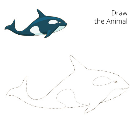 draw animal: Learn to draw animal whale colorful funny hand drawn vector illustration Illustration