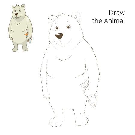 draw animal: Learn to draw animal polar bear colorful funny hand drawn vector illustration