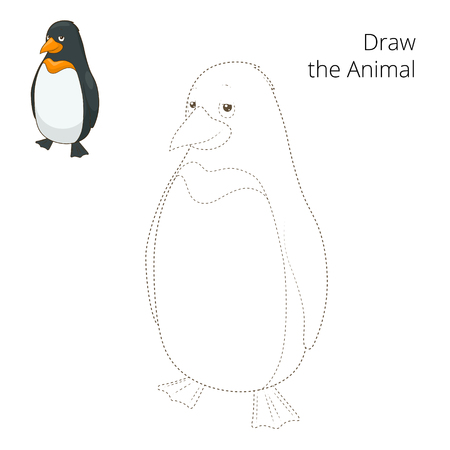 draw animal: Learn to draw animal penguin colorful funny hand drawn vector illustration Illustration