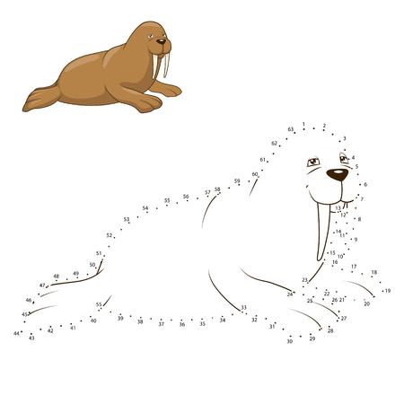 draw animal: Learn to draw animal walrus colorful funny hand drawnvector illustration